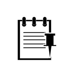 Notepad and push pin icon vector