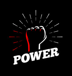 power clenched raised back fist hand gesture sun vector image