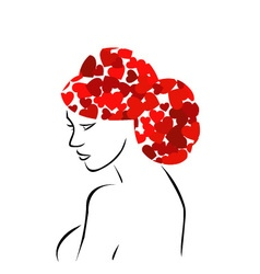 Red heart hair woman vector image vector image