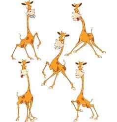 Set Cartoon Funny Giraffe vector image vector image