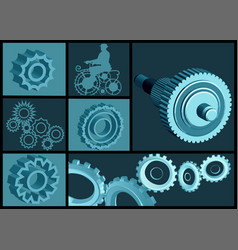Set of abstract gears vector