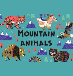 Set of mountain animals vector
