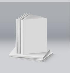 Stack of blank white books for design vector