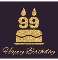 The birthday cake with candles in the form of vector image vector image