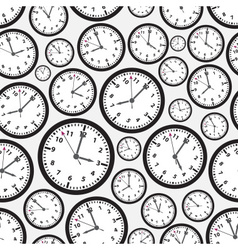 time zones black and white clock seamless pattern vector image vector image