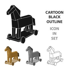 trojan horse icon in cartoon style isolated on vector image