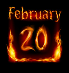 twentieth february in calendar of fire icon on vector image vector image