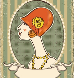 Vintage woman portrait vector