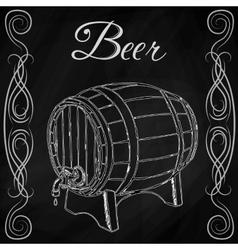 wooden barrel in style sketch vector image