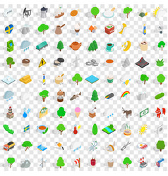100 stockholm icons set isometric 3d style vector