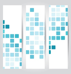 Set blue mosaic tile cards vector