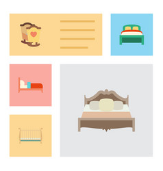 Flat bed set of cot furniture bedroom and other vector