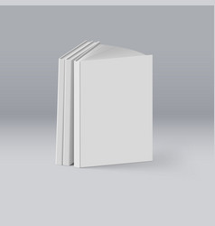 Stack of white books on deep background mockup vector