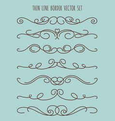 vintage thin line border set vector image