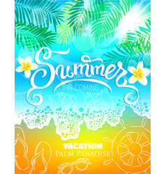 Summer vacation palm paradise poster vector