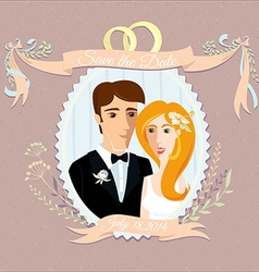 Vintage wedding invitation with happy couple vector