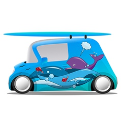 Ocean aerography mini cartoon car with a surfboard vector