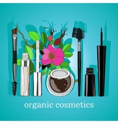 Organic cosmetics set of vertical blue back vector