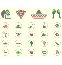 Mexican icon set vector