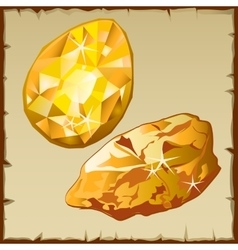 Raw gold and faceted gemstone two icons vector