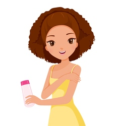Girl holding packaging and scrubbing on skin vector
