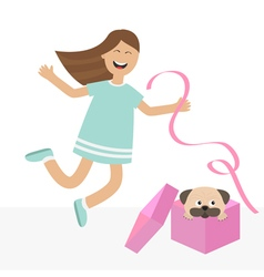 Girl jumping for joy gift box with puppy pug dog vector