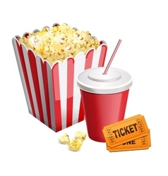 Popcorn with soda and tickets isolated on white vector
