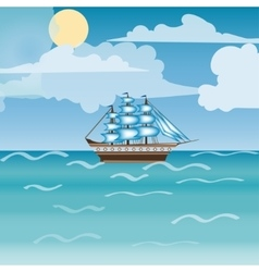 Three masted sailing ship frigate transport vector