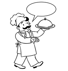Funny cook or chef with tray coloring book vector