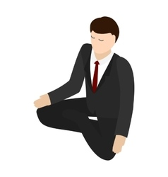 Businessman meditation icon isometric 3d style vector