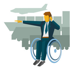 disabled businessman in wheelchair show the way vector image vector image
