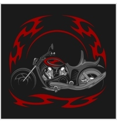 Flaming bike - retro chopper and tribal flame vector