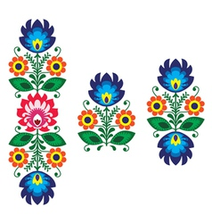 Folk embroidery with flowers - traditional polish vector image vector image