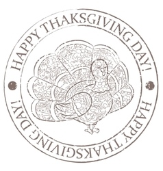 Happy thankgiving day stamp grunge vector