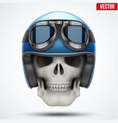 Human skull with retro chopper helmet vector