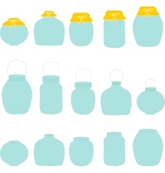 Jars set jar with bow silhouettes vector