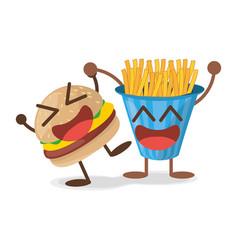 kawaii burger french fries fast food vector image vector image