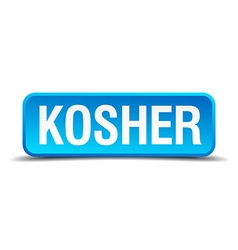 Kosher blue 3d realistic square isolated button vector image