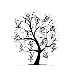 Monkey tree for your design symbol of 2016 year vector