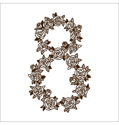 Number eight 8 of flowers vector image vector image