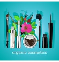 Organic cosmetics set of vertical blue back vector