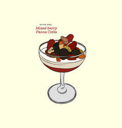 panna cotta with fresh mixed berries in a glass vector image