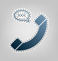 Phone with speech bubble sign blue icon vector
