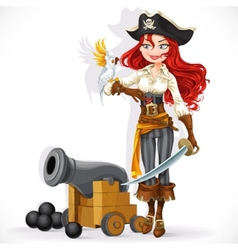 Pirate girl with parrot and cannonry vector
