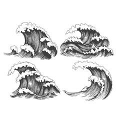 sea waves sketch set vector image vector image