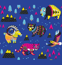 seamless pattern with mountain animals vector image vector image