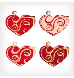 Set of hearts vector image vector image