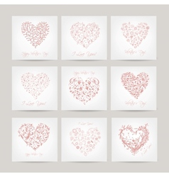 Set of valentine cards with hearts for your design vector image vector image