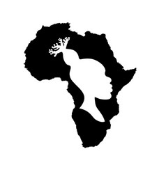 Silhouette of africa with african woman inside vector