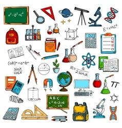 Sketches of school or university equipment vector